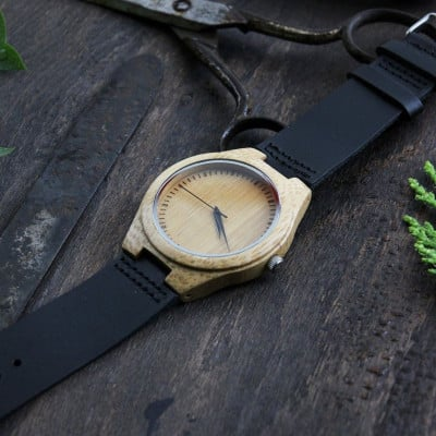 Wooden Watch | Black Leather + Light Brown Wood Volans