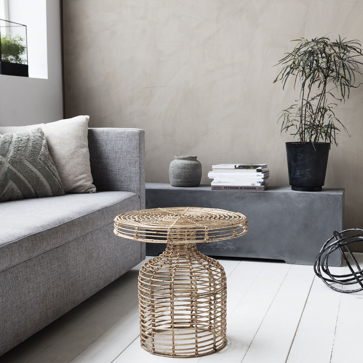 Side Table Rattan   Nature
