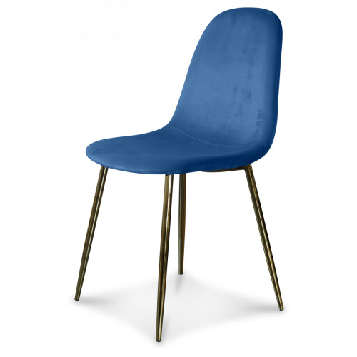 Chaise Josef Velours   Cobalt/Or