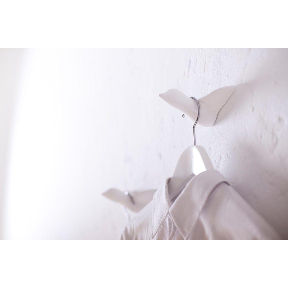 Wandhaken Vogel aus Beton | Weiß