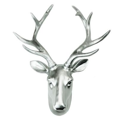 Premium Deer Head Wall Art | Silver
