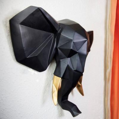 Elephant Wall Art | Black & Gold