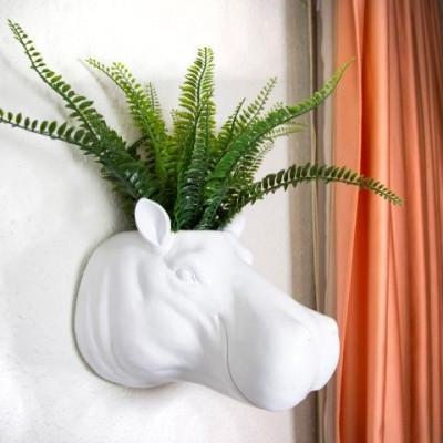 Hippo Hanging Plant Pot | White & Gold