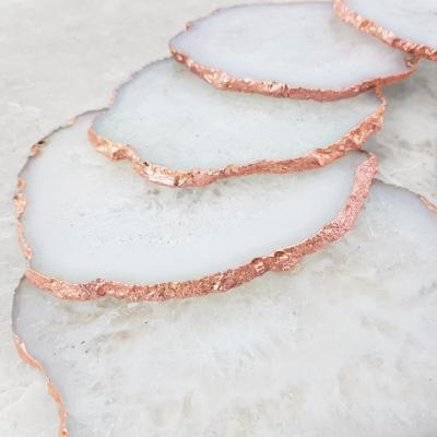 White Agate Coasters Rose Gold Edge   Set of 2