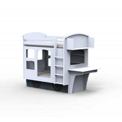 Wagon Etagenbett mit 2 Schubladen, Regal und Schreibtisch l Weiß