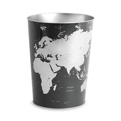 Papierkorb Globus | Schwarz-Silber