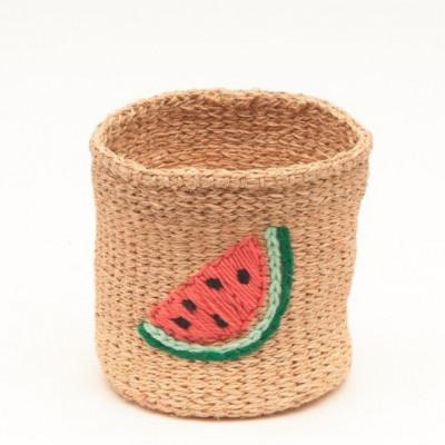 Embroidered Storage Basket   Watermelon