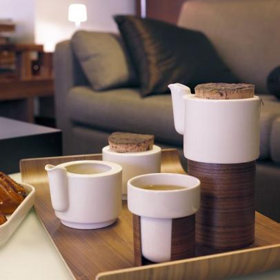 WARM Teekanne/Kaffeekanne klein   Weiß/Eiche