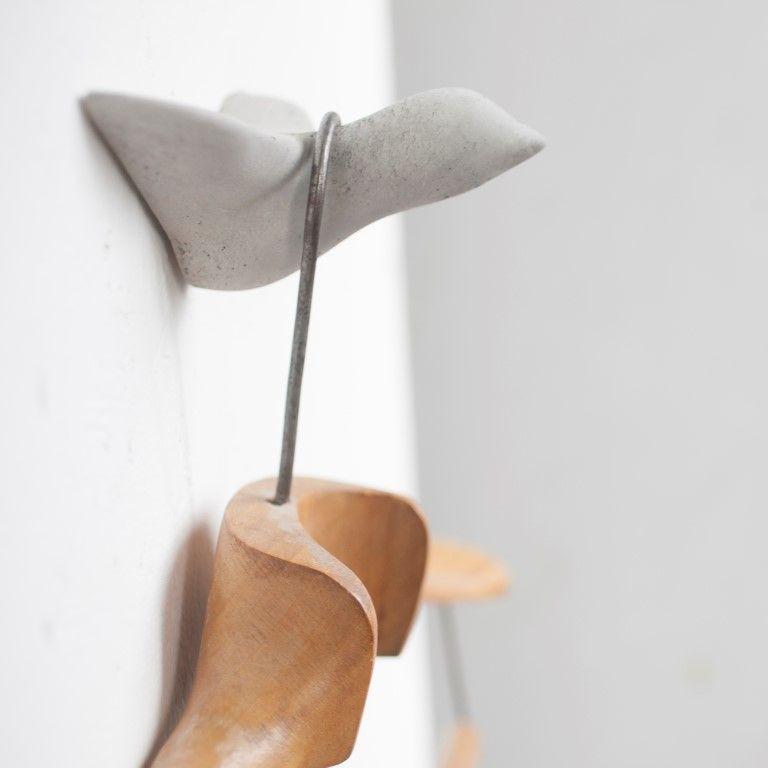Wandhaken Vogel aus Beton   Grau