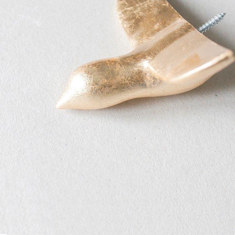 Wandhaken Vogel aus Beton   Gold