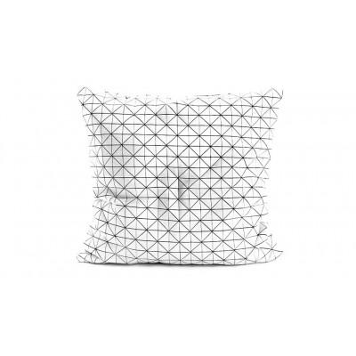 Origami-Kopfkissenbezug | Weiß / schwarz