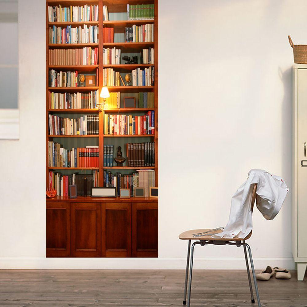 Wandaufkleber Tür - 2 Blätter | Vintage-Bücherregal