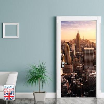 Wall Sticker Door 90 x 200 cm   View Over Manhattan