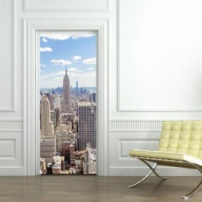 Wall Sticker Door 2 Pieces 44 x 200 cm   Manhattan View