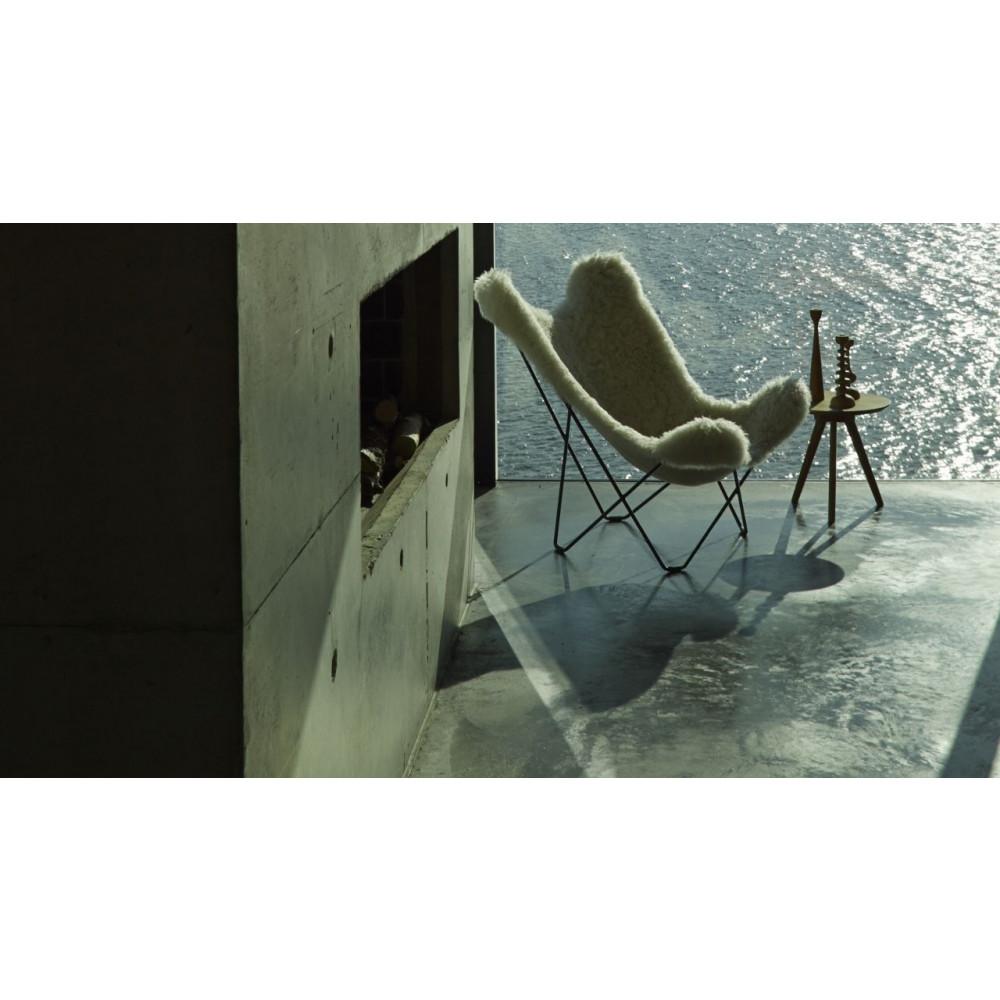 Butterfly Chair Icelandic Sheepskin   Short Brown / Black Frame