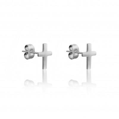 Earrings Cross   Silver