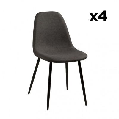 Chaise Wendy | Set de 4 | Gris/Noir