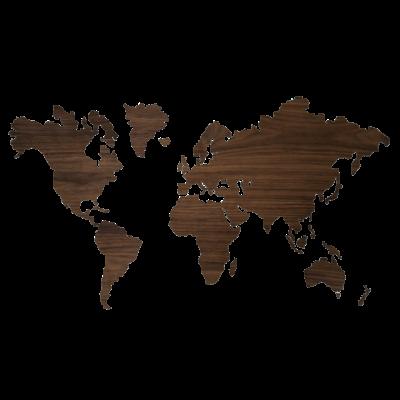 Sticky Wooden World Map   Walnut