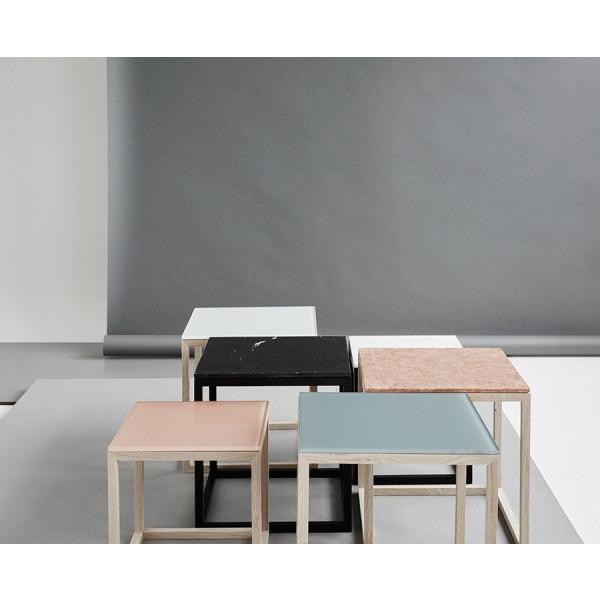 Cube Table | Oak & Black Marble