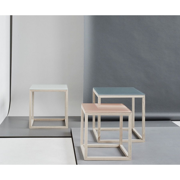 Cube Glass Table   White