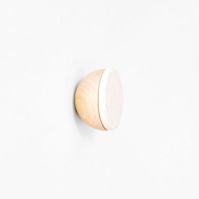 Buchenholz & Keramik Haken / Knopf Ø 5cm   Weißer Sand