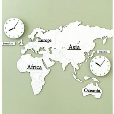 Worldmap & Wall Clock Set   White & White