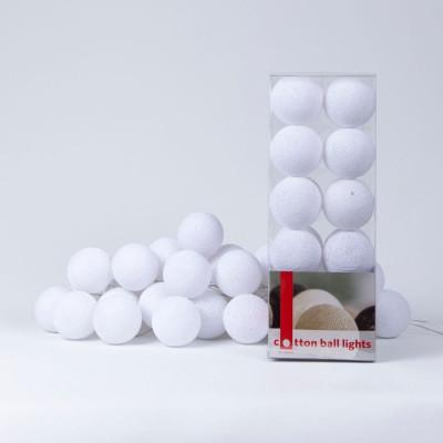 Cotton Ball Light String | White