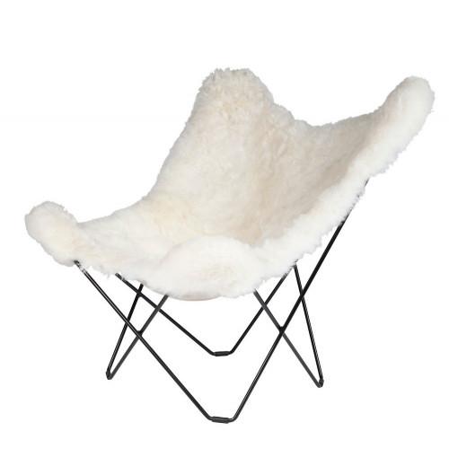 Schmetterling-Stuhl Isländisches Schaffell | Kurz Weiß / Schwarzes Stahlgestell