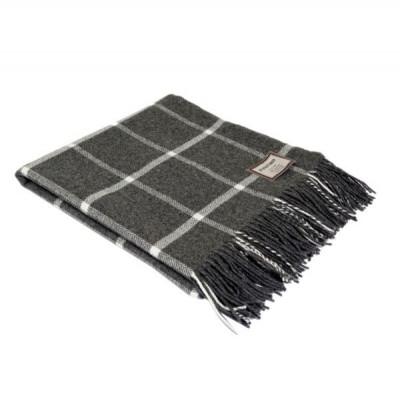 Windowpane Blanket   Grey & White
