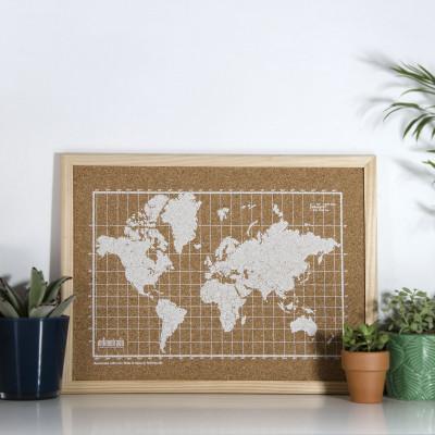 Bulletin Board mit Weltkarte | Weiß / Natur