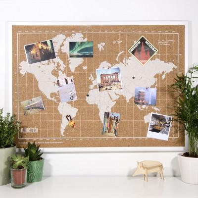 Bulletin Board mit Weltkarte | Weiß / Weiß