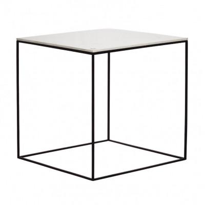 MoonSquare Beistelltisch   Schwarzes Stahlgestell / Weiße Tischplatte