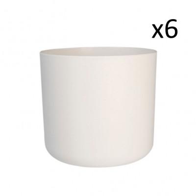 6er-Set Recycling-Pflanzentöpfe | Weiß