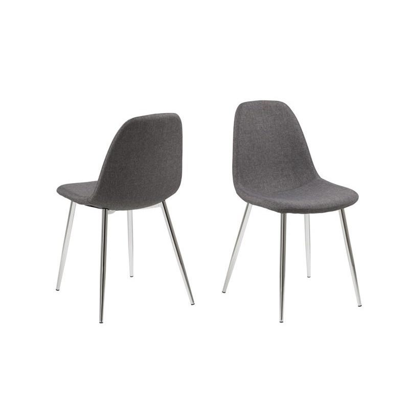 Chair Wendy Set of 4 | Grey/Chrome