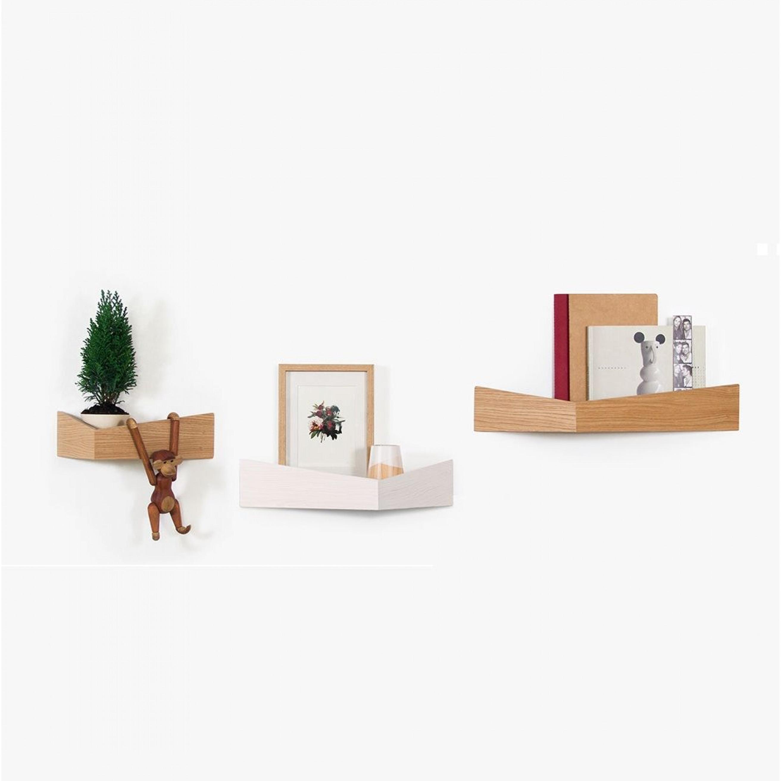 Shelves Set of 3 Pelican | Small Oak + Medium White + Large Oak
