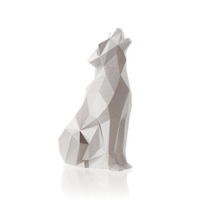 Candle   Wolf Poly Silver