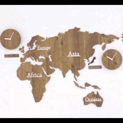 Worldmap & Wall Clock Set    Wooden & Wooden