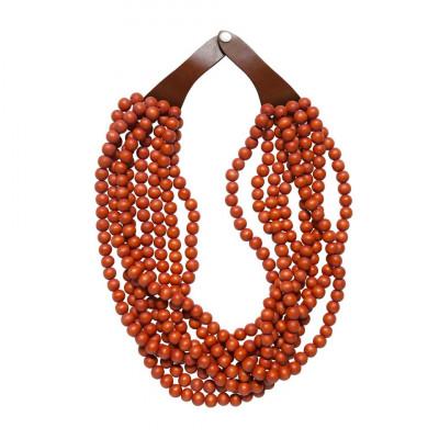 Holz- und Lederperlenkette   Mandarine