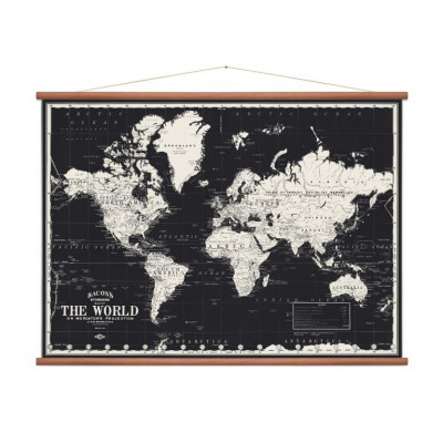 Vintage Weltkarte | Schwarz