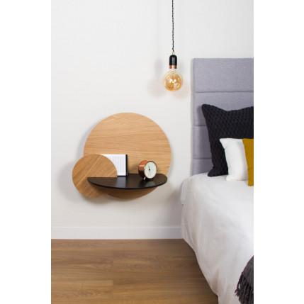 Runder Nachttisch mit Stauraum Alba Large   Eiche, Schwarz & Eiche
