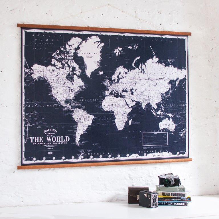 Vintage Weltkarte   Schwarz