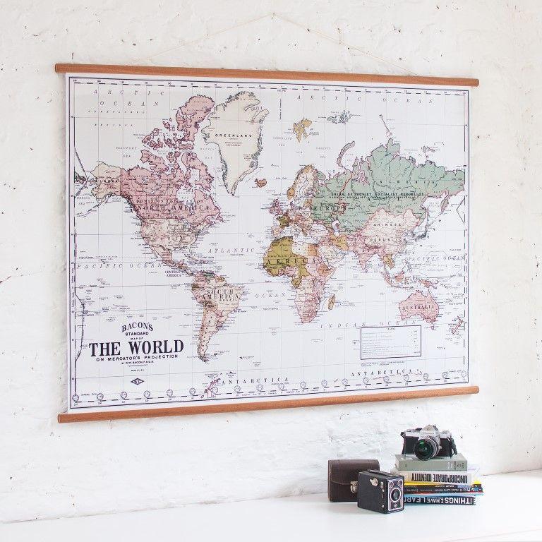 Vintage Weltkarte   Weiß