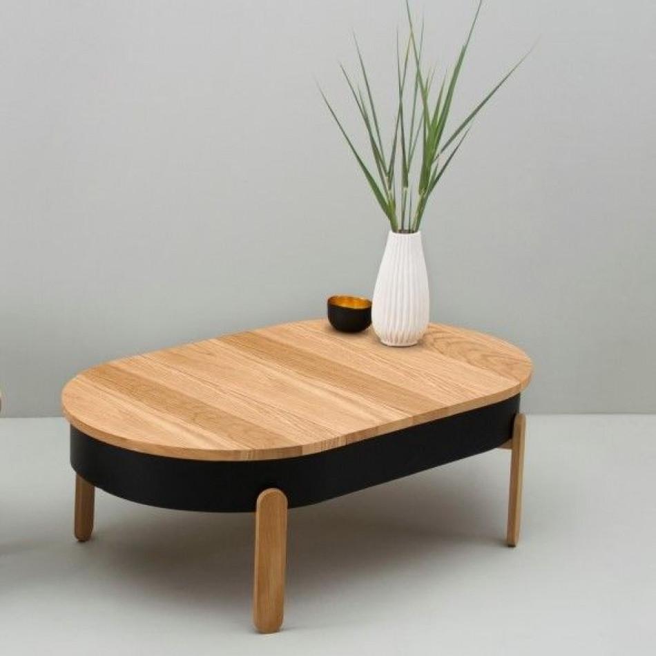 Coffee Table with Storage Space Batea Large | Oak & Black