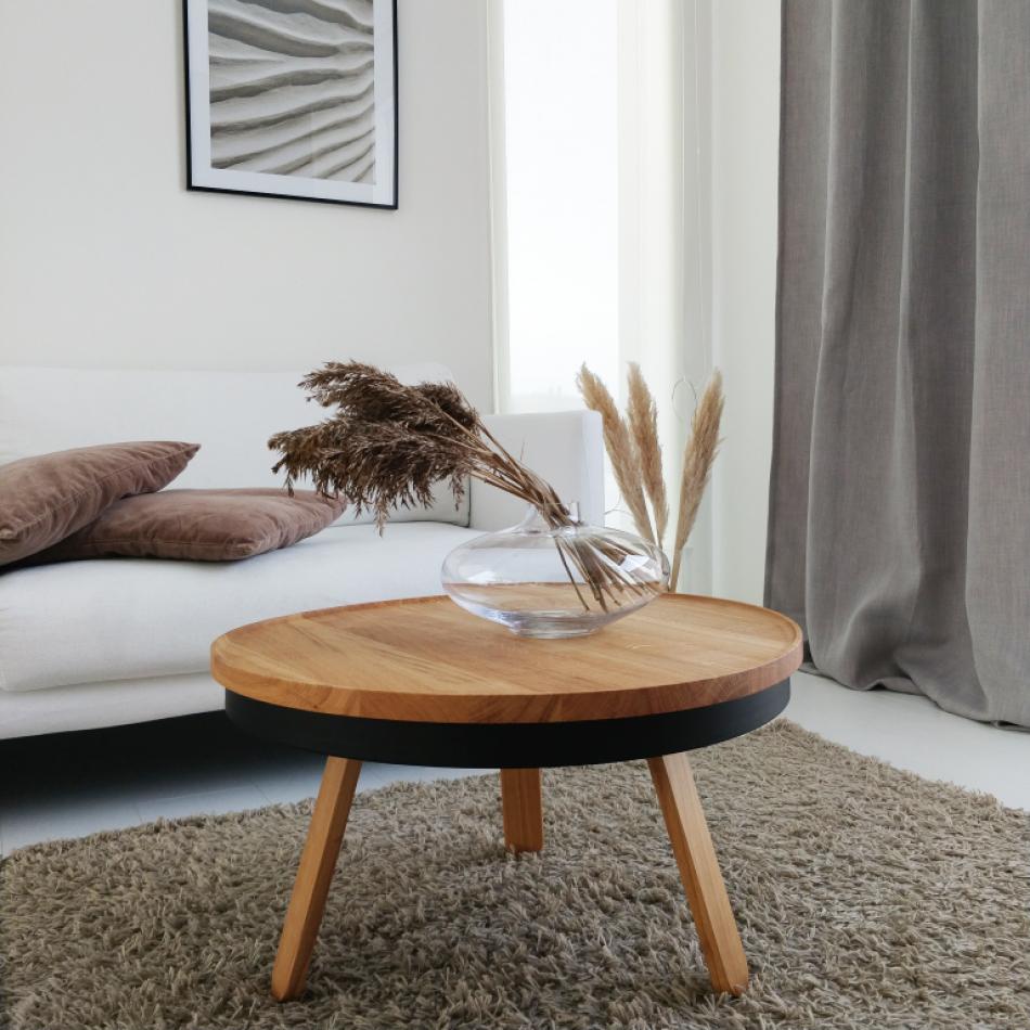 Coffee Table with Storage Space Batea Medium | Oak & Black