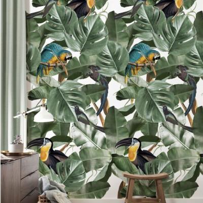 Wallpaper Botanical Birds White
