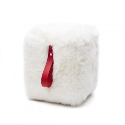 Quadratischer Schafsfell-Puff | Weiß