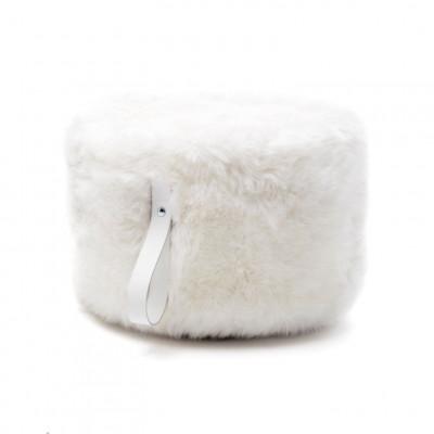Runder Schafsfell-Puff | Weiß