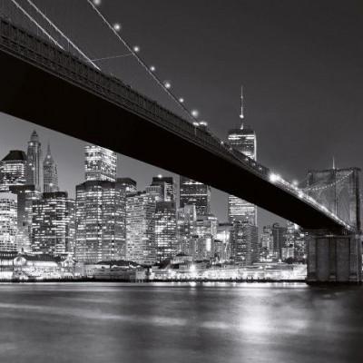 Wall Sticker (366 x 254 cm 8 Sheets)   Brooklyn Bridge at Night