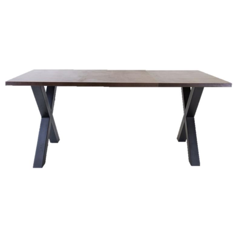 Breazz Leder Tisch X-Rahmen   Dunkelbraun - 160x80cm