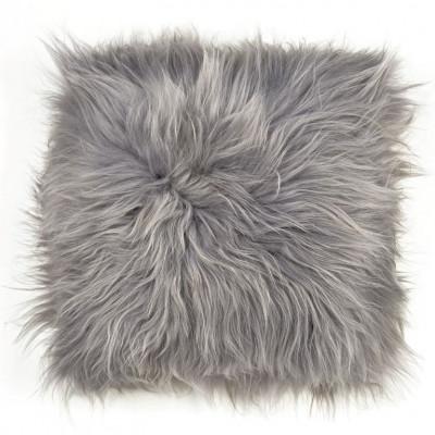 Chair Pad Icelandic Lambskin   Grey Brisa Long Hair